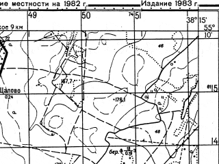 Reduced fragment of topographic map ru--gs--050k--n37-029-3--N055-10_E038-00--N055-00_E038-15; towns and cities Malino
