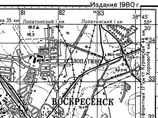 Reduced fragment of topographic map ru--gs--050k--n37-030-1--N055-20_E038-30--N055-10_E038-45; towns and cities Voskresensk, Kolyberovo