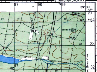 Reduced fragment of topographic map ru--gs--050k--n37-030-2--N055-20_E038-45--N055-10_E039-00; towns and cities Khorlovo, Peski, Fosforitnyy
