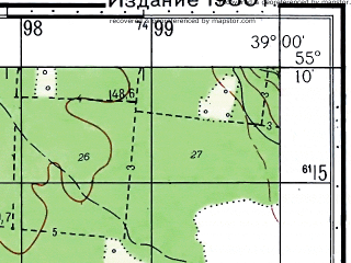 Reduced fragment of topographic map ru--gs--050k--n37-030-4--N055-10_E038-45--N055-00_E039-00; towns and cities Kolomna