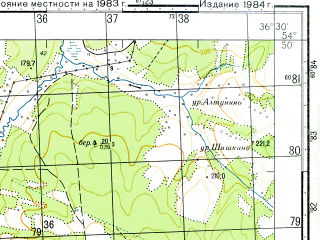 Reduced fragment of topographic map ru--gs--050k--n37-037-4--N054-50_E036-15--N054-40_E036-30; towns and cities Detchino