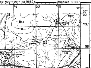 Reduced fragment of topographic map ru--gs--050k--n37-041-1--N055-00_E038-00--N054-50_E038-15; towns and cities Stupino, Kashira, Zhilevo