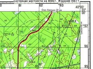 Reduced fragment of topographic map ru--gs--050k--n37-044-2--N055-00_E039-45--N054-50_E040-00; towns and cities Kriusha