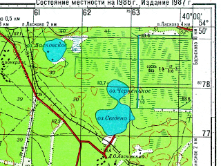 Reduced fragment of topographic map ru--gs--050k--n37-044-4--N054-50_E039-45--N054-40_E040-00; towns and cities Solotcha