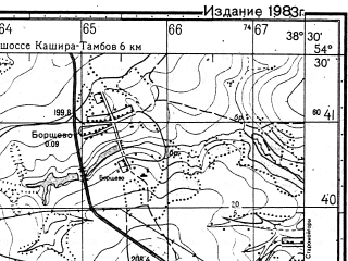 Reduced fragment of topographic map ru--gs--050k--n37-053-4--N054-30_E038-15--N054-20_E038-30; towns and cities Venev
