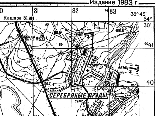 Reduced fragment of topographic map ru--gs--050k--n37-054-3--N054-30_E038-30--N054-20_E038-45; towns and cities Serebryanyye Prudy