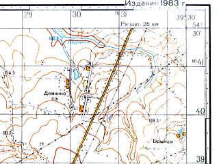 Reduced fragment of topographic map ru--gs--050k--n37-055-4--(1983)--N054-30_E039-15--N054-20_E039-30; towns and cities Zakharovo