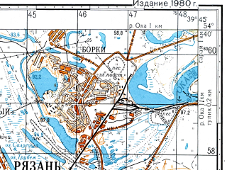 Reduced fragment of topographic map ru--gs--050k--n37-056-1--(1979)--N054-40_E039-30--N054-30_E039-45; towns and cities Ryazan'