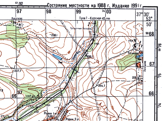 Reduced fragment of topographic map ru--gs--050k--n37-075-4--(1991)--N053-50_E037-15--N053-40_E037-30; towns and cities Plavsk
