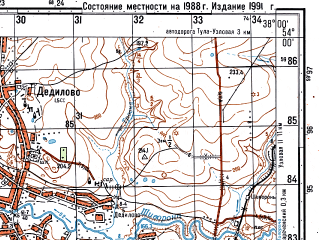 Reduced fragment of topographic map ru--gs--050k--n37-076-2--N054-00_E037-45--N053-50_E038-00; towns and cities Kireyevsk, Dedilovo