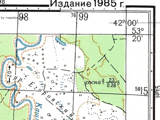Reduced fragment of topographic map ru--gs--050k--n37-108-2--N053-20_E041-45--N053-10_E042-00