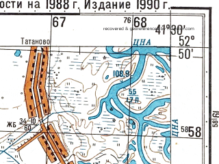 Reduced fragment of topographic map ru--gs--050k--n37-119-4--N052-50_E041-15--N052-40_E041-30; towns and cities Tambov