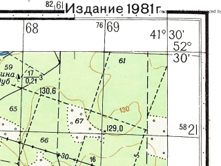 Reduced fragment of topographic map ru--gs--050k--n37-131-4--N052-30_E041-15--N052-20_E041-30