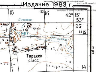 Reduced fragment of topographic map ru--gs--050k--n38-097-1--N053-20_E042-00--N053-10_E042-15; towns and cities Baylovka Vtoraya