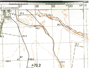 Reduced fragment of topographic map ru--gs--050k--n39-087-2--(1963)--N053-40_E049-15--N053-30_E049-30; towns and cities Tol'yatti