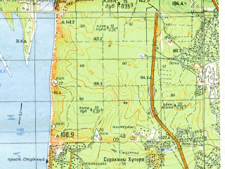 Reduced fragment of topographic map ru--gs--050k--n39-101-1--(1970)--N053-20_E050-00--N053-10_E050-15; towns and cities Kuybyshev, Rozhdestveno