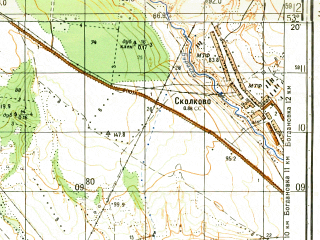 Reduced fragment of topographic map ru--gs--050k--n39-102-1--(1983)--N053-20_E050-30--N053-10_E050-45; towns and cities Kinel'