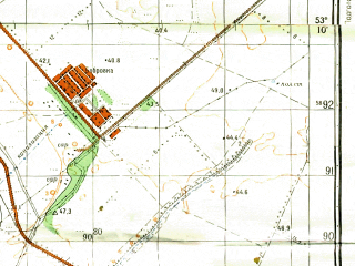 Reduced fragment of topographic map ru--gs--050k--n39-102-3--(1983)--N053-10_E050-30--N053-00_E050-45; towns and cities Bobrovka