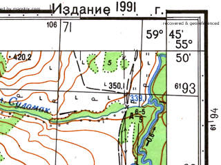 Reduced fragment of topographic map ru--gs--050k--n40-012-3--N055-50_E059-30--N055-40_E059-45; towns and cities Abtryakova