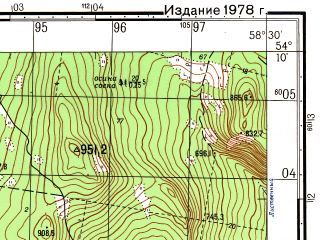 Reduced fragment of topographic map ru--gs--050k--n40-069-4--N054-10_E058-15--N054-00_E058-30