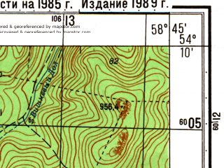 Reduced fragment of topographic map ru--gs--050k--n40-070-3--N054-10_E058-30--N054-00_E058-45