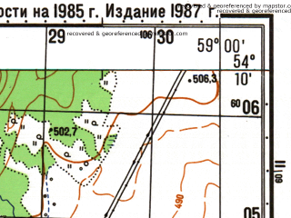 Reduced fragment of topographic map ru--gs--050k--n40-070-4--N054-10_E058-45--N054-00_E059-00; towns and cities Mindyak