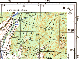 Reduced fragment of topographic map ru--gs--050k--n40-081-2--N054-00_E058-15--N053-50_E058-30; towns and cities Beloretsk