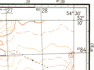Reduced fragment of topographic map ru--gs--050k--n40-133-4--N052-10_E054-15--N052-00_E054-30