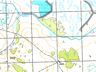 Reduced fragment of topographic map ru--gs--050k--n41-014-3--N055-30_E060-30--N055-20_E060-45; towns and cities Bayramgulovo