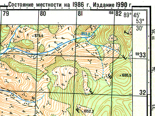 Reduced fragment of topographic map ru--gs--050k--n45-096-3--N053-30_E089-30--N053-20_E089-45; towns and cities Biskamzha
