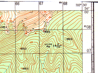 Reduced fragment of topographic map ru--gs--050k--n49-005-2--N056-00_E110-15--N055-50_E110-30