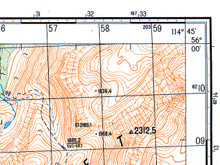 Reduced fragment of topographic map ru--gs--050k--n50-002-1--N056-00_E114-30--N055-50_E114-45