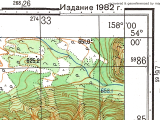 Reduced fragment of topographic map ru--gs--050k--n57-076-2--(1982)--N054-00_E157-45--N053-50_E158-00
