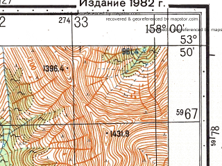 Reduced fragment of topographic map ru--gs--050k--n57-076-4--(1982)--N053-50_E157-45--N053-40_E158-00