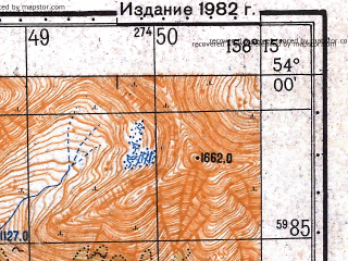Reduced fragment of topographic map ru--gs--050k--n57-077-1--(1982)--N054-00_E158-00--N053-50_E158-15
