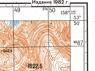 Reduced fragment of topographic map ru--gs--050k--n57-077-3--(1982)--N053-50_E158-00--N053-40_E158-15