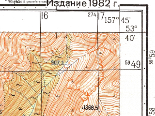 Reduced fragment of topographic map ru--gs--050k--n57-088-1--(1982)--N053-40_E157-30--N053-30_E157-45