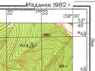 Reduced fragment of topographic map ru--gs--050k--n57-088-2--(1982)--N053-40_E157-45--N053-30_E158-00