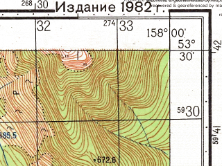 Reduced fragment of topographic map ru--gs--050k--n57-088-4--(1982)--N053-30_E157-45--N053-20_E158-00