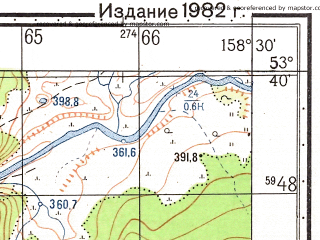 Reduced fragment of topographic map ru--gs--050k--n57-089-2--(1982)--N053-40_E158-15--N053-30_E158-30