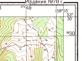 Reduced fragment of topographic map ru--gs--050k--n57-089-3--(1978)--N053-30_E158-00--N053-20_E158-15; towns and cities Severnyye Koryaki