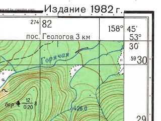 Reduced fragment of topographic map ru--gs--050k--n57-090-3--(1982)--N053-30_E158-30--N053-20_E158-45