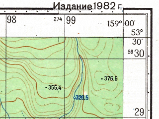Reduced fragment of topographic map ru--gs--050k--n57-090-4--(1982)--N053-30_E158-45--N053-20_E159-00