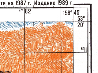 Reduced fragment of topographic map ru--gs--050k--n57-102-1--(1989)--N053-20_E158-30--N053-10_E158-45