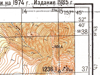Reduced fragment of topographic map ru--gs--050k--n57-124-1--(1985)--N052-40_E157-30--N052-30_E157-45
