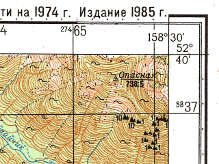 Reduced fragment of topographic map ru--gs--050k--n57-125-2--(1985)--N052-40_E158-15--N052-30_E158-30
