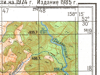Reduced fragment of topographic map ru--gs--050k--n57-125-3--(1985)--N052-30_E158-00--N052-20_E158-15