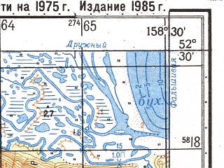 Reduced fragment of topographic map ru--gs--050k--n57-125-4--(1985)--N052-30_E158-15--N052-20_E158-30