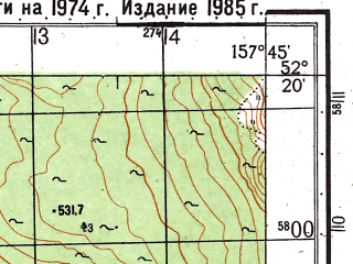 Reduced fragment of topographic map ru--gs--050k--n57-136-1--(1985)--N052-20_E157-30--N052-10_E157-45