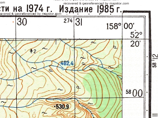 Reduced fragment of topographic map ru--gs--050k--n57-136-2--(1985)--N052-20_E157-45--N052-10_E158-00